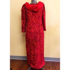 Vintage 70s Red Rose Burnout Velvet Dress w/ Scarf
